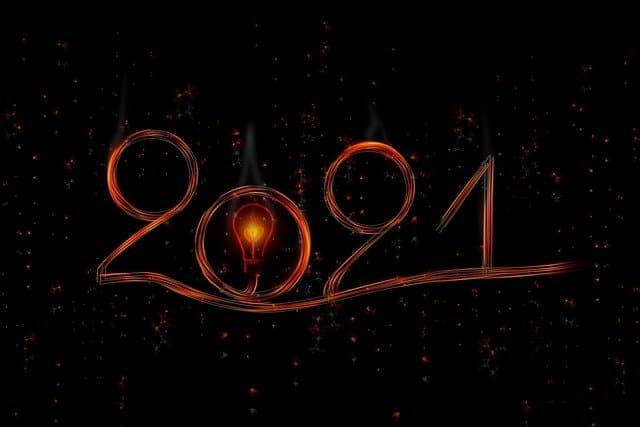 2020 napisane świecącym przewodem