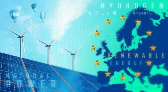 Symboliczna grafika przedstawiająca mapę Europy, gwiazdki flagi UE i odnawialne żródła energii