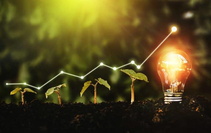 symboliczna strzałka pokazująca wzrost zużycia odnawialnej energii - na tle roślin