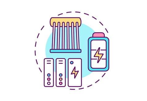Ikona koncepcja innowacji magazynowania energii.