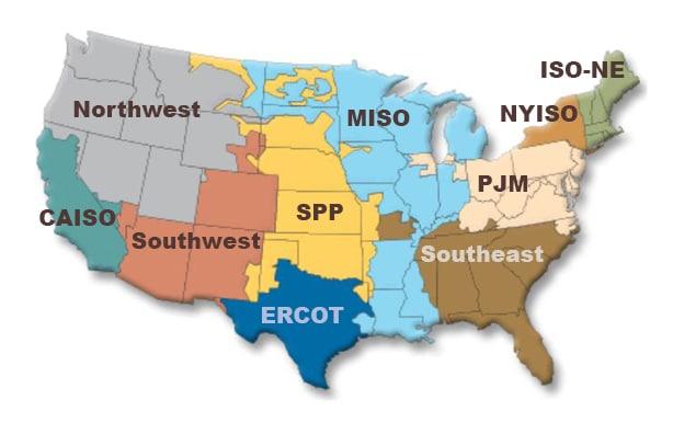 Mapa obszarów operatorów systemu dystrybucyjnego w USA