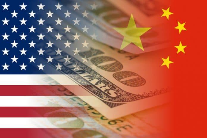 flaga chińska i amerykańska