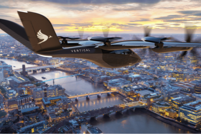 Render taksówki powietrznej Vertical Aerospace nad miastem