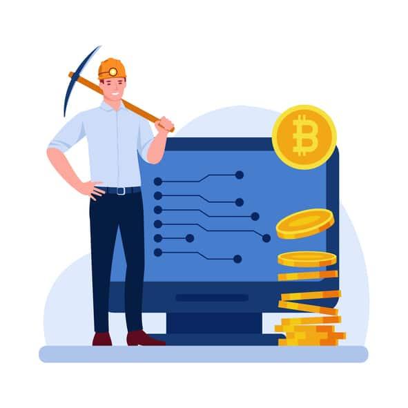 symboliczny obrazek przedstawiający górnictwo bitcoina